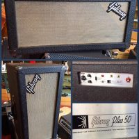 "1966/67 Gibson Plus 50 auxiliary powered 2x10"" speaker cab - $295"